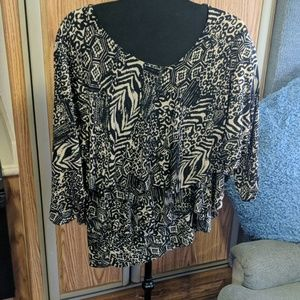 🎁Susan graver 3x brown and black pullover blouse